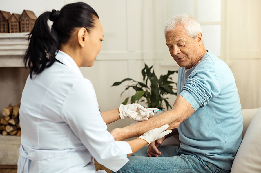 In home nursing care can provide injections for patients. If you need to take medicine through an injection but cannot administer an injection to yourself, we can provide a licensed nurse that can administer the injection for you.