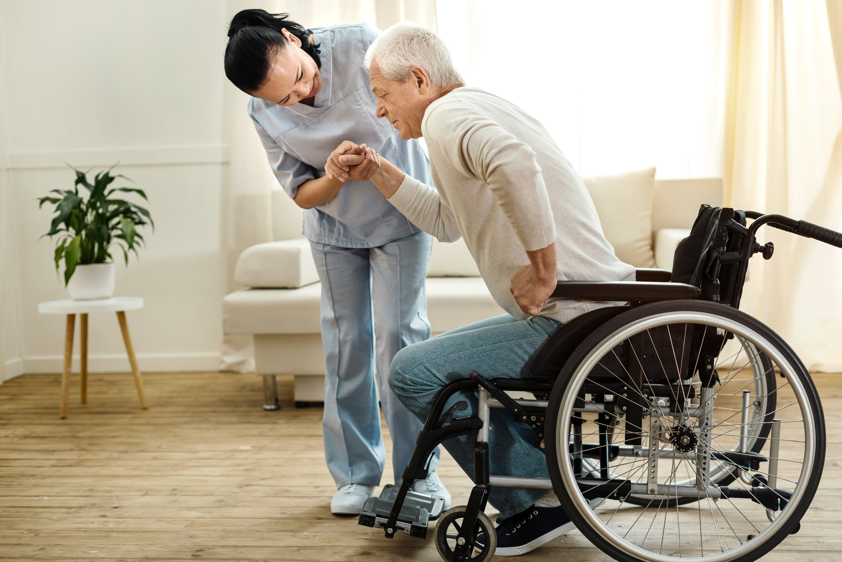 Our caregivers are trained on all durable medical equipment so we may assist your loved one confidently with their wheelchair, walker, cane, bedside commode, or Hoyer lifts. Our caregivers receive extensive transfer training to provide safe transfers of your loved ones from the bed to the chair, to the car or commode.
